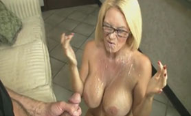 Busty Mature Showered with Massive Cumshot on her Whole Body